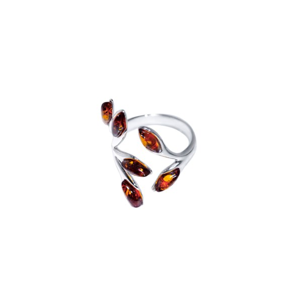 Sterling silver ring with cognac Baltic amber