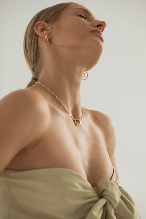 Gold braided earrings