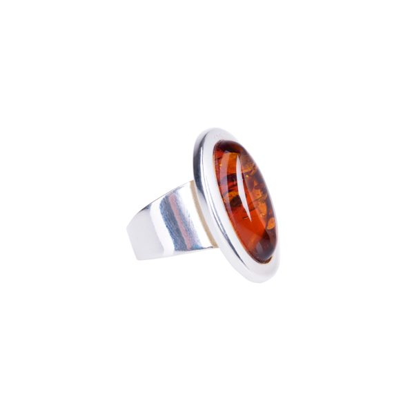 Silver ring with genuine cognac Baltic amber