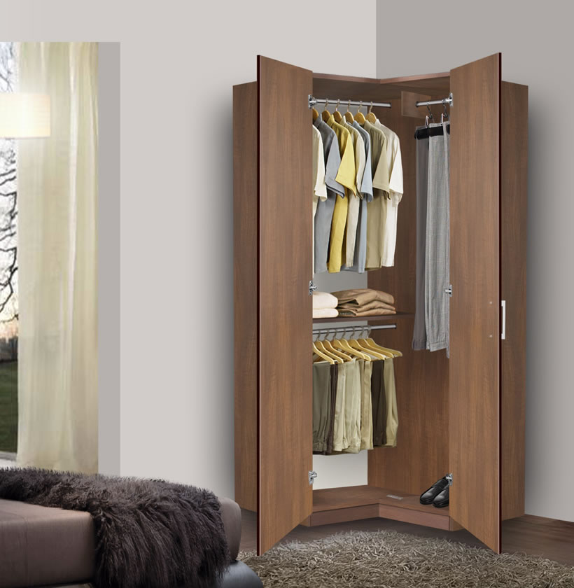 Bella Corner Wardrobe Corner Closet W Three Hangrods