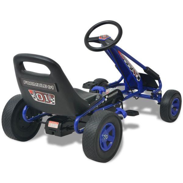 Gokart med pedal och justerbart säte blå