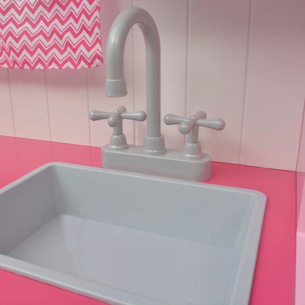 vidaXL Leksakskök i trä 82x30x100 cm rosa och vit