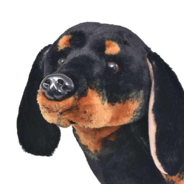 vidaXL Stående leksakshund tax plysch svart XXL