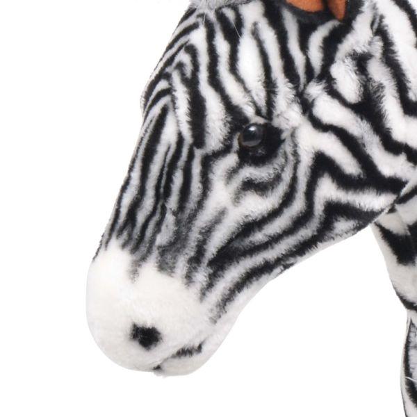 vidaXL Stående leksakszebra plysch svart och vit XXL
