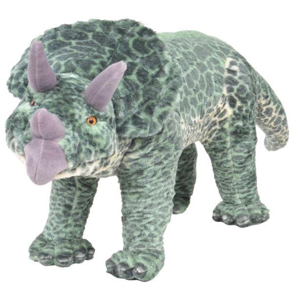 vidaXL Stående leksaksdinosaurie triceratops plysch grön XXL