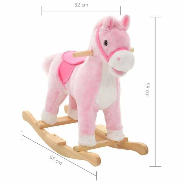Gungleksak häst plysch 65x32x58 cm rosa