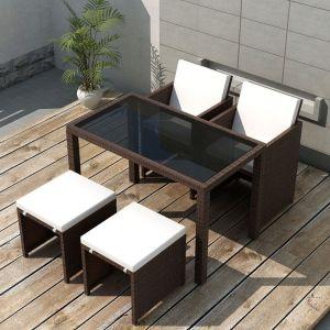 vidaXL Matgrupp för trädgården med dynor 5 delar konstrotting brun