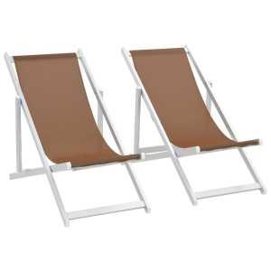 vidaXL Hopfällbara strandstolar 2 st aluminium och textilen brun