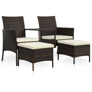 vidaXL Trädgårdssoffa 2-sits med bord & fotpallar konstrotting brun