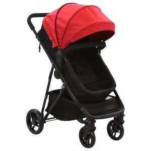 vidaXL 2-i-1 Sitt-/liggvagn röd och svart stål