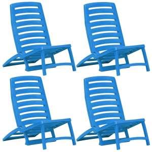 vidaXL Hopfällbara strandstolar 4 st plast blå