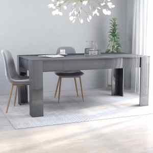 vidaXL Matbord grå högglans 180x90x76 cm spånskiva