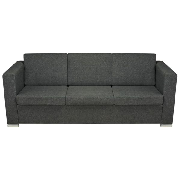 vidaXL 3-sitssoffa i tyg mörkgrå