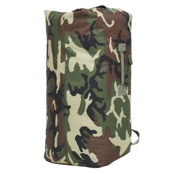 vidaXL Militärinspirerad duffelväska 85 L kamouflage