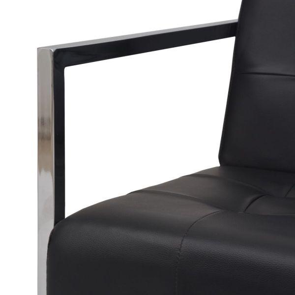vidaXL Soffa med armstöd 2-sits konstläder och stål svart
