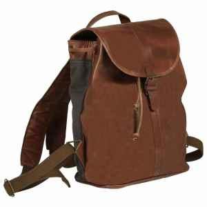 vidaXL Ryggsäck äkta läder brun