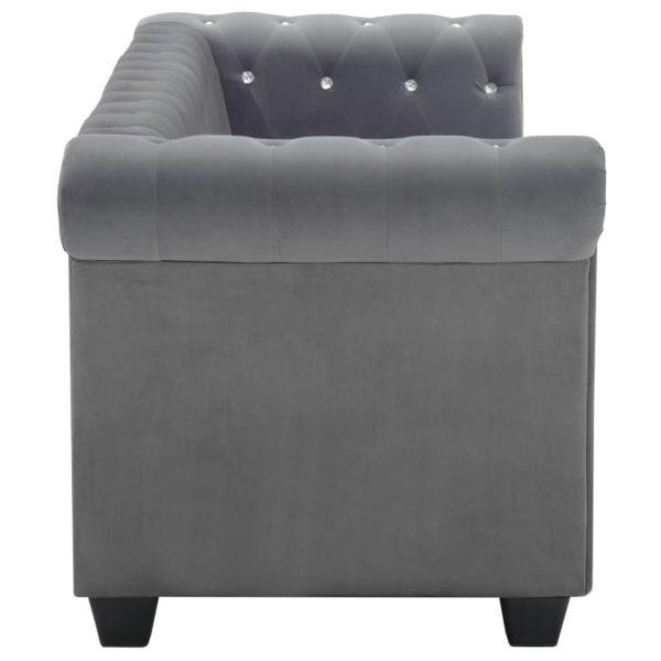 vidaXL Chesterfieldsoffa 3-sits sammet 199x75x72 cm grå