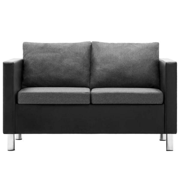 vidaXL 2-sitssoffa i konstläder svart och ljusgrå