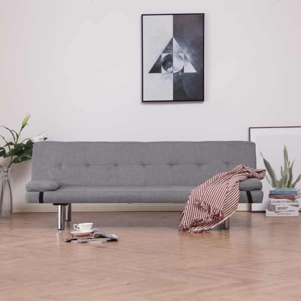vidaXL Bäddsoffa med två kuddar ljusgrå polyester