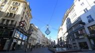 Der fast menschenleere Graben in der Wiener Altstadt.