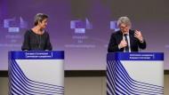 Inhaltlich überhaupt nicht einig: EU-Vize-Präsidentin Margrethe Vestager und  Binnenmarktkommissar Thierry Breton