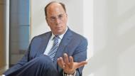 Larry Fink während eines Interviews im Frankfurter Büro von Blackrock am 12. September 2018