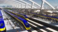 So hätte es aussehen können: digitales Modell des kalifornischen Bahnprojektes