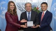 Experten für die digitale Zukunft: Melinda Gates, UN-Generalsekretär Antonio Guterres, Unternehmer Jack Ma