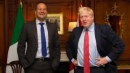 Zufriedene Gesichter: Der irische Premierminister Leo Varadkar (links) und sein britischer Amtskollege Boris Johnson in Thornton Manor.