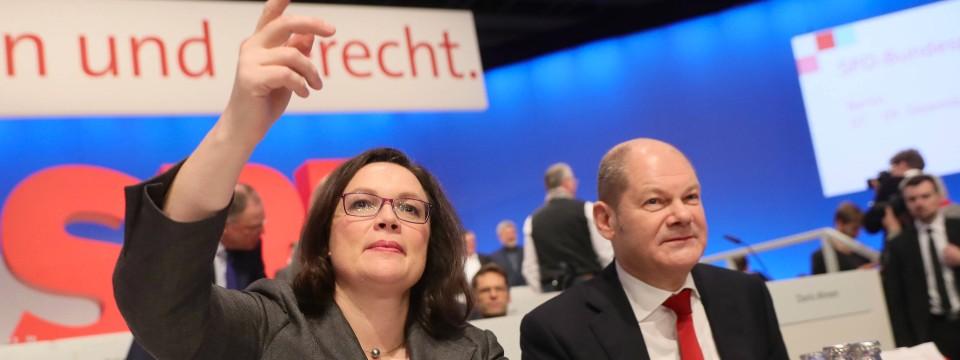 Andrea Nahles und Olaf Scholz beim jüngsten SPD-Parteitag