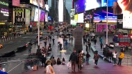 The crossroads of the world, much emptier than usual: Times Square in Manhattan