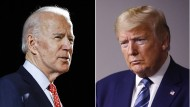 Joe Biden (l), der ehemalige Vizepräsident der Vereinigten Staaten und Präsidentschaftsbewerber der amerikanischen Demokraten und der amerikanische Präsident Donald Trump