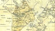 """Eine historische Karte der """"Freien Herrschaft Kniphausen und Edlen Herrschaft Varel"""". In Varel bekam Dorothea Fuhrken den Dichterlorbeer verliehen."""