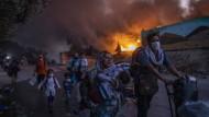 Haben vier Männer aus Afghanistan den Brand gelegt: das Erstaufnahmelager Moria am 9. September 2020