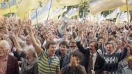 Unabhängigkeitsdemonstration in Kiew am 4. September 1991.