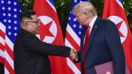 Kim Jong-un trifft Donald Trump am 12. Juni 2018 in Singapur.