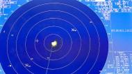 """Ein Radarbildschirm an Bord der """"USS Boxer"""" am 16. Juli in der Arabischen See."""