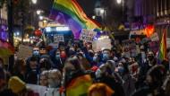 Protest in Polen gegen die Verschärfung des Abtreibungsrechts im Oktober 2020