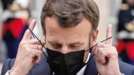 Der französische Präsident Emanuel Macron am Donnerstag im Élysée-Palast