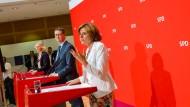 Wieder Lust auf die SPD machen: Manuela Schwesig, Thorsten Schäfer-Gümbel und Malu Dreyer am Montag im Willy-Brandt-Haus.