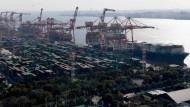 Kräne verladen Container im Hafen von Tokio.