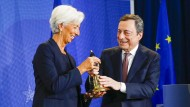 Italienisch-französische Amtsüberhabe zwischen Mario Draghi und Christine Lagarde in Frankfurt