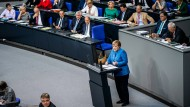 Angela Merkel während ihrer Rede am Mittwoch im Bundestag.
