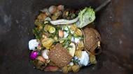 Gibt es im Überfluss: Lebensmittel liegen in einer Tonne für Biomüll.