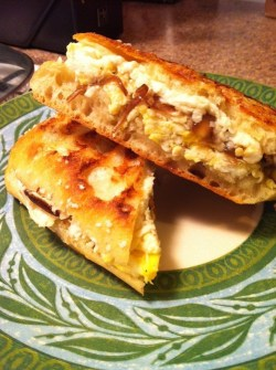 A boring-looking breakfast sandwich that isnt boring at all.