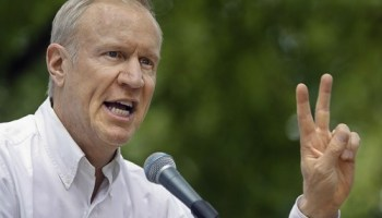 Bruce Rauner, seeking the Republican nomination for governor, talks to supporters at the state fair in Springfield in August.