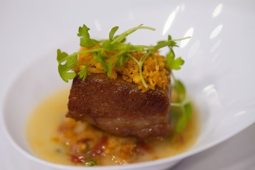 Caramelizaed bacon with clams casino broth, Michael Jordans Steakhouse