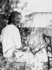 Charlotte Salomon painting in the garden at the Villa L'Ermitage, Villefranche-sur-Mer, France, 1939