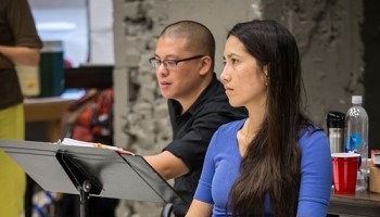 Director Eric Ting and playwright Frances Ya-Chu Cowhig in rehearsal for The World of Extreme Happiness