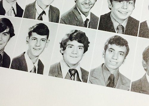 Jesus Garcia (center) as a sophomore at Saint Rita High School, shortly before a dress code change allowed him to start growing his trademark mustache.